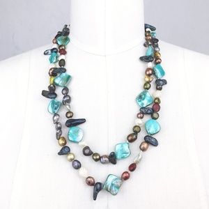 Jewelry - Long Colorful Genuine Baroque Freshwater Pearl